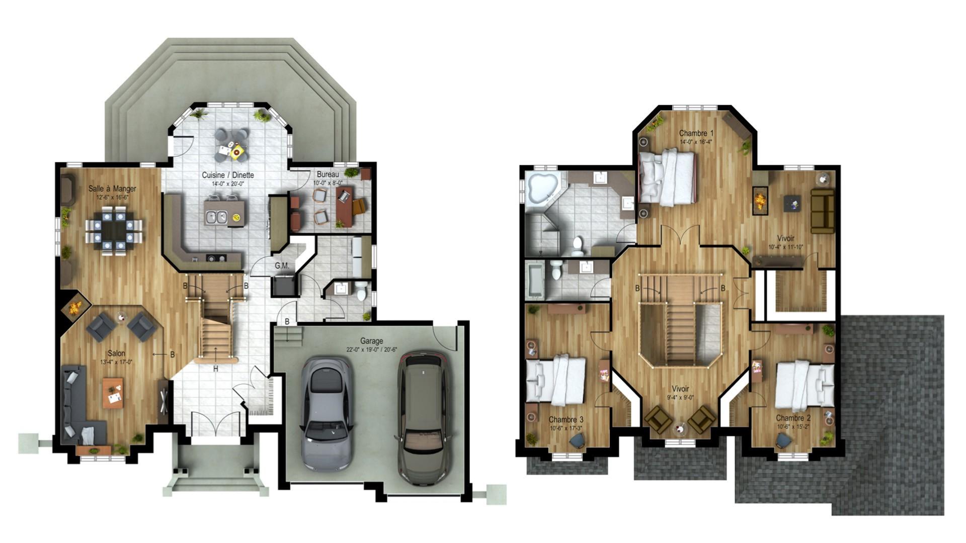 Cottage_Chateaux_Baccara_Plan maison de prestige_Domicil