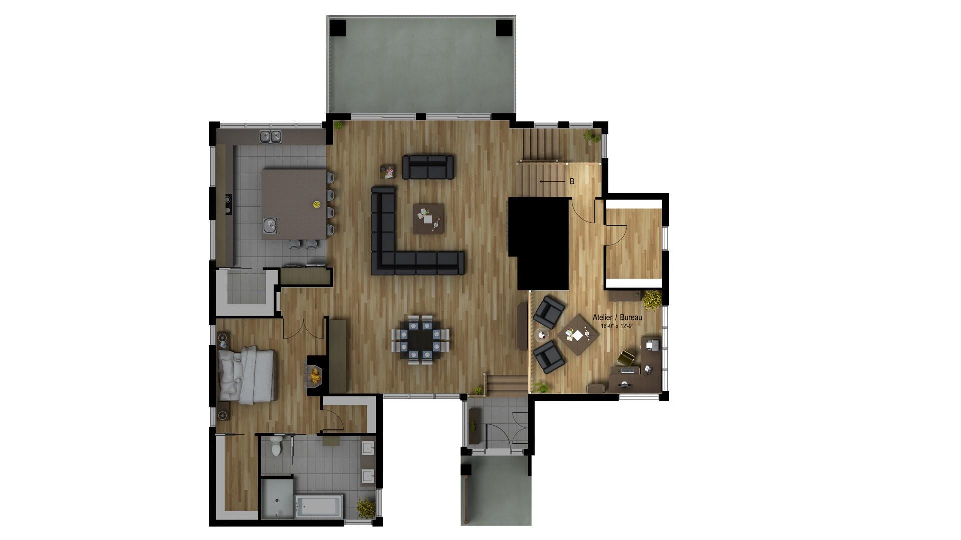 Contemporain-organique_Mont-Blanc_Plan de maison de luxe_Domicil