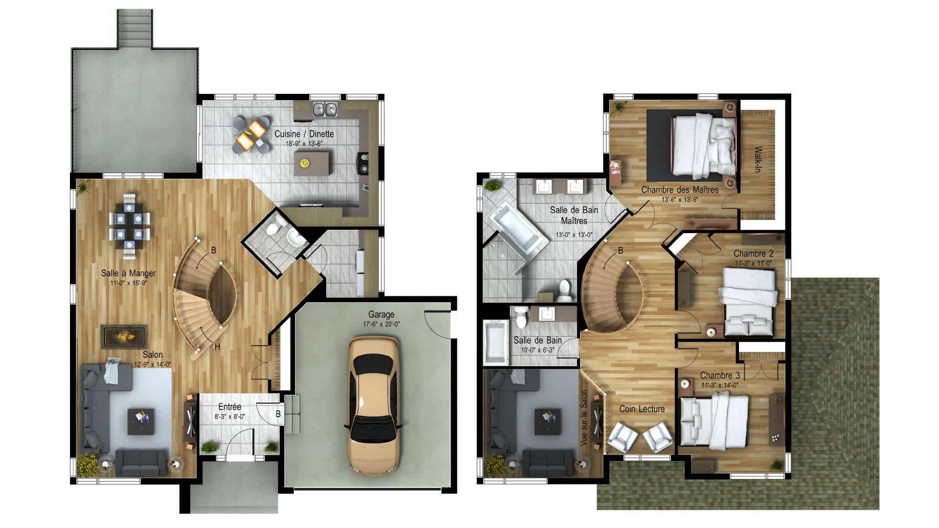 Cottage_Contemporain_Athena_Plan maison de prestige_Domicil