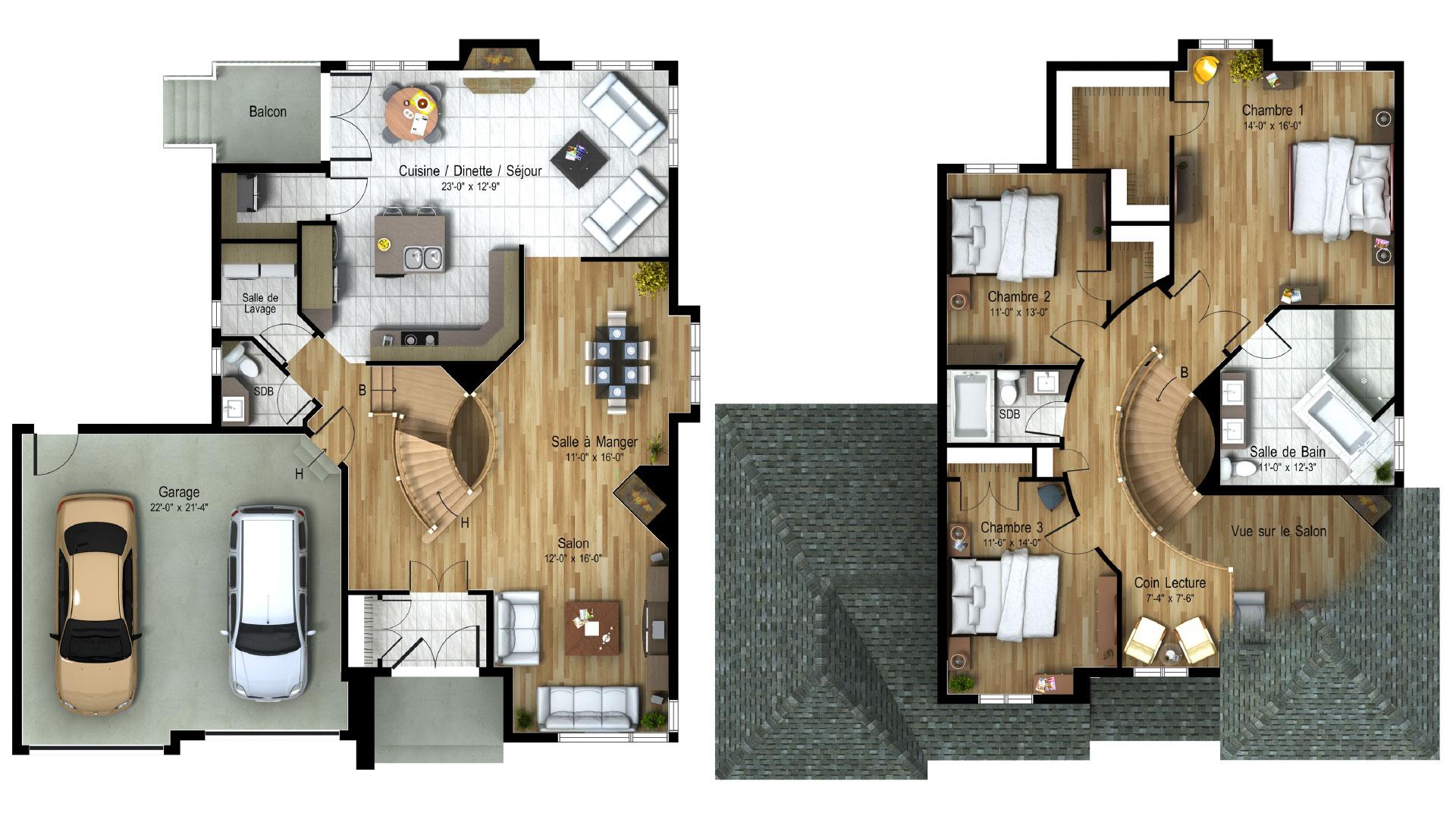 Cottage_Contemporain_Sunbury_Plan maion de luxe_Domicil