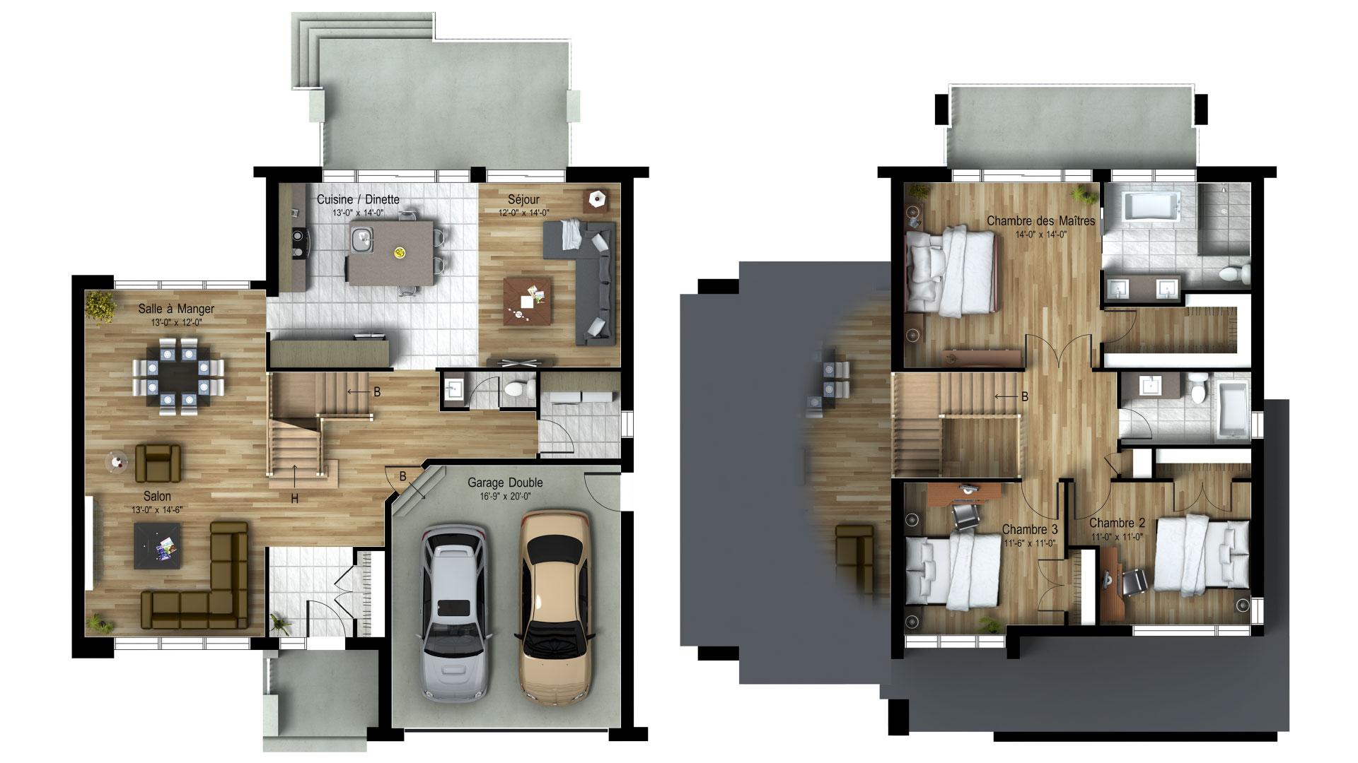 Cottage_Contemporain_Infinity_Plan de maison de luxe_Domicil